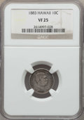 Coins of Hawaii , 1883 10C Hawaii Ten Cents VF25 NGC. NGC Census: (30/440). PCGS Population: (46/723). Mintage 249,921. ...