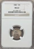 Seated Dimes: , 1886 10C MS63 NGC. NGC Census: (104/309). PCGS Population: (150/288). MS63. Mintage 6,376,684. ...