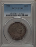 Barber Half Dollars: , 1908 50C XF45 PCGS. PCGS Population: (22/245). NGC Census: (4/155). XF45. Mintage 1,354,545. ...