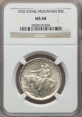 Commemorative Silver, 1925 50C Stone Mountain MS64 NGC. NGC Census: (3306/3391). PCGSPopulation: (4551/4029). MS64. Mintage 1,314,709. ...