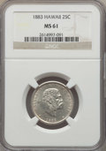 Coins of Hawaii , 1883 25C Hawaii Quarter MS61 NGC. NGC Census: (72/898). PCGSPopulation: (59/1257). CDN: $250 Whsle. Bid for problem-free N...