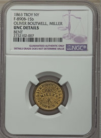 1863 Oliver Boutwell, Miller, Troy, New York, NY, F-890B-15b -- Bent -- NGC Details. UNC. NGC Census: (0/0). PCGS Popula...