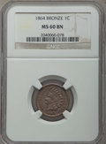 Indian Cents, 1864 1C Bronze No L MS60 Brown NGC. NGC Census: (4/412). PCGS Population: (4/437). CDN: $90 Whsle. Bid for problem-free NGC...
