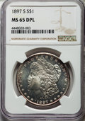 1897-S $1 MS65 Deep Prooflike NGC. NGC Census: (37/5). PCGS Population: (44/7). CDN: $2,000 Whsle. Bid for NGC/PCGS MS65...