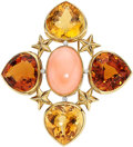 Estate Jewelry:Brooches - Pins, Coral, Citrine, Diamond, Platinum, Gold Brooch, Leverington . ...