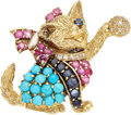 Estate Jewelry:Brooches - Pins, Multi-Stone, Diamond, Freshwater Cultured Pearl, Gold Brooch. ...