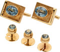 Estate Jewelry:Cufflinks, Blue Topaz, Gold Dress Set, Burle Marx. ... (Total: 4 Items)