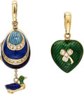 Estate Jewelry:Pendants and Lockets, Diamond, Enamel, Gold Charms, Fabergé. ... (Total: 2 Items)