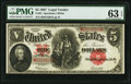 Large Size:Legal Tender Notes, Fr. 91 $5 1907 Legal Tender PMG Choice Uncirculated 63 EPQ.. ...