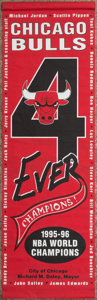 Basketball Collectibles:Others, 1996 Chicago Bulls Championship Banner Hung on Chicago Streets.. ...