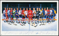 Hockey Cards:Lots, Mid 1990's 500 Goal Scorers Multi-Signed Ron Lewis Lithograph.. ...