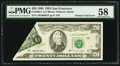 Error Notes:Foldovers, Printed Fold Error Fr. 2082-L $20 1995 Federal Reserve Note. PMGChoice About Unc 58.. ...