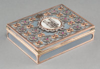A Fabergé-Style 14K Vari-Color Gold, Diamond, and Enamel Snuff Box, 20th century Pseudo marks: (left facing Kokos...
