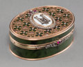 Decorative Arts, Continental:Other , A Fabergé-Style 14K Vari-Color Gold, Diamond, Spinach Jade, andEnamel Snuff Box, 20th century. Marks: (56). 1-1/4 h x 3-1/4...