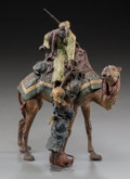 Decorative Arts, Continental:Other , A Franz Bergman Austrian Cold-Painted Bronze: Camel RiderReceiving Water, late 19th-early 20th century. Marks: (Ber...