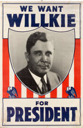 Political:Textile Display (1896-present), Wendell Willkie: Large Headquarters Banner....