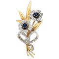 Estate Jewelry:Brooches - Pins, Sapphire, Diamond, Gold Brooch, English . ...