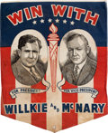 Political:Textile Display (1896-present), Willkie & McNary: Very Rare Jugate Cotton Banner....