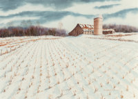 William H. Gale (American, 20th Century) Winter on the Farm Watercolor on paper 21-1/4 x 30 inche