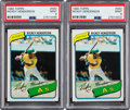 Baseball Cards:Singles (1970-Now), 1980 Topps Rickey Henderson #482 PSA Mint 9 Pair....