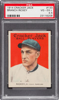 Baseball Cards:Singles (Pre-1930), 1914 Cracker Jack Branch Rickey #133 PSA VG-EX+ 4.5....