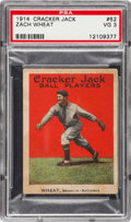 Baseball Cards:Singles (Pre-1930), 1914 Cracker Jack Zach Wheat #52 PSA VG 3....
