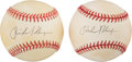 Baseball Collectibles:Balls, 1993-94 Richard Nixon Single Signed Baseballs Lot of 2. . ...