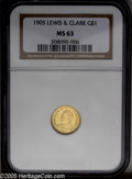 Commemorative Gold: , 1905 G$1 Lewis and Clark MS63 NGC. Reasonably lustrous with subtleolive accents. An old, shallow scratch on the right side...