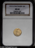 Commemorative Gold: , 1915-S G$1 Panama-Pacific Gold Dollar MS64 NGC. Breen-7436. DoubleS. The surfaces exude a warm, satiny glow and show fragi...