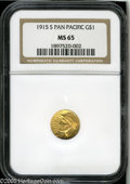 Commemorative Gold: , 1915-S G$1 Panama-Pacific Gold Dollar MS65 NGC. Well struck,lustrous, and seemingly pristine, with even coloration and a t...