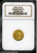 Classic Quarter Eagles: , 1834 $2 1/2 Classic AU55 NGC. McCloskey-A, Breen-6140, Large Head, R.3. The surfaces are a bit bagmarked but the features a...
