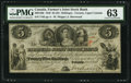 Canadian Currency: , Toronto, UC - The Farmer's Joint Stock Bank $5 = 25 Shillings Feb.1, 1849 Ch. # 280-12-06. ...