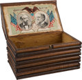 Political:3D & Other Display (pre-1896), Harrison & Morton: Wood Log Cabin Jugate Cigar Box....