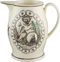 Political:3D & Other Display (pre-1896), George Washington: Important Multicolor Liverpool Pitcher With Jefferson Quote....