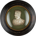 Political:3D & Other Display (pre-1896), Abraham Lincoln: Circa 1865 Silvered Bust in Shadow Box Frame....