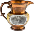 Political:3D & Other Display (pre-1896), Andrew Jackson: Bulbous Copper Luster Pitcher on Yellow Ground....