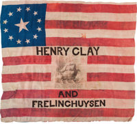 """Henry Clay: An Outstanding Example of the Rare and Iconic 1844 """"Ship of State"""" Silk Campaign Flag"""