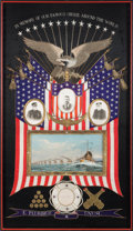 Political:3D & Other Display (1896-present), Theodore Roosevelt: Large Over-the-Top Great White Fleet Silk and Photographic Display in Pristine Condition....