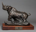 Sculpture, Dylan Lewis (South African, b. 1964). Black Rhino, 1995. Bronze with black patina. 18-1/2 inches (47.0 cm) high on a 3 ...