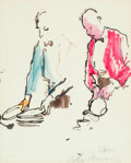 Fine Art - Work on Paper:Drawing, LeRoy Neiman (American, 1921-2012). Les Garcons, 1962. Inkon paper. 12-5/8 x 10-1/8 inches (32.1 x 25.7 cm). Signed and...