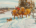 Fine Art - Painting, American, Robert E. Lougheed (American, 1910-1982). Returning from theCedar Woods in the Evening. Oil on board. 8 x 10 inches (20...
