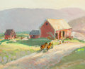 Fine Art - Painting, American, Robert E. Lougheed (American, 1910-1982). On the Farmstead.Oil on board. 8 x 10 inches (20.3 x 25.4 cm). Signed and ins...