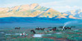 Fine Art - Painting, American, Thomas W. Lorimer (American, b. 1941). Open Range Camp,1996. Oil on board. 14-1/2 x 29 inches (36.8 x 73.7 cm). Signed ...