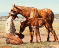 Fine Art - Painting, American, Robert Woodcock (American, 20th Century). The New Arrival.Oil on Masonite. 8-1/4 x 10 inches (21.0 x 25.4 cm). Signed l...