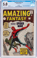 Silver Age (1956-1969):Superhero, Amazing Fantasy #15 UK Edition (Marvel, 1962) CGC VG/FN 5.0 Off-white to white pages....