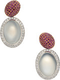 Estate Jewelry:Earrings, Moonstone, Ruby, Diamond, White Gold Earrings, Eli Frei. ...