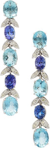 Estate Jewelry:Earrings, Aquamarine, Tanzanite, Colored Diamond, Diamond, White GoldEarrings. ...