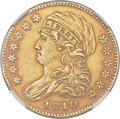 Early Half Eagles, 1810 $5 Small Date, Tall 5, BD-1, High R.3, AU53 NGC....
