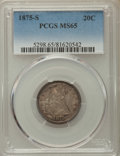 Twenty Cent Pieces: , 1875-S 20C MS65 PCGS. PCGS Population: (198/71). NGC Census: (199/61). MS65. Mintage 1,155,000. ...