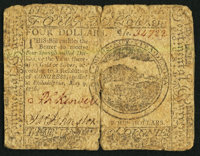 Continental Currency May 9, 1776 $4 Very Good